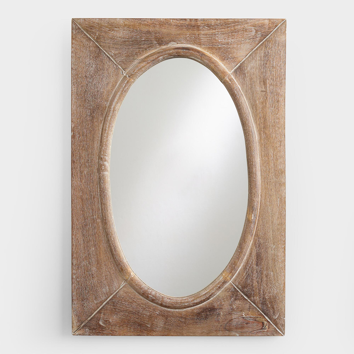Oval mirror made with distressed wood photo