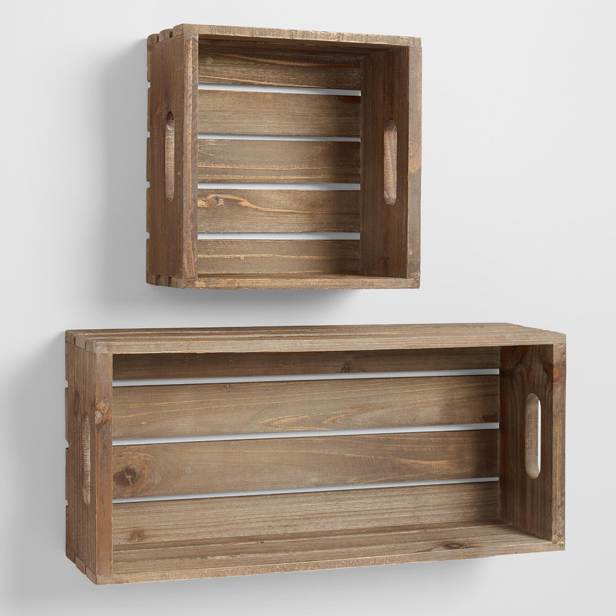Wooden wall storage crates. photo