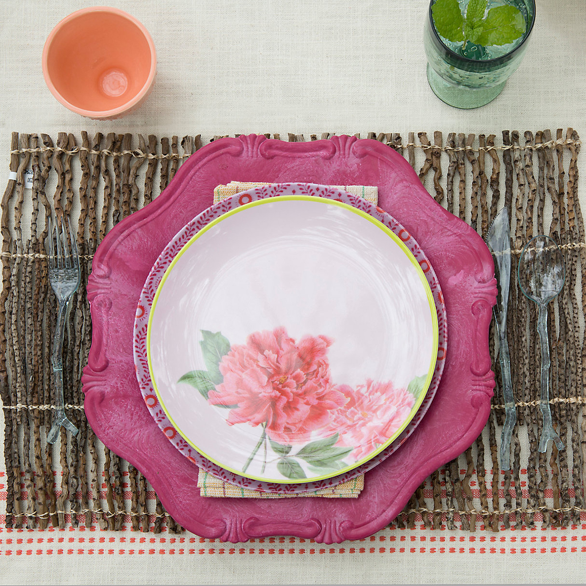 Rustic distressed wood twig placemat that can be rolled up for storage. photo