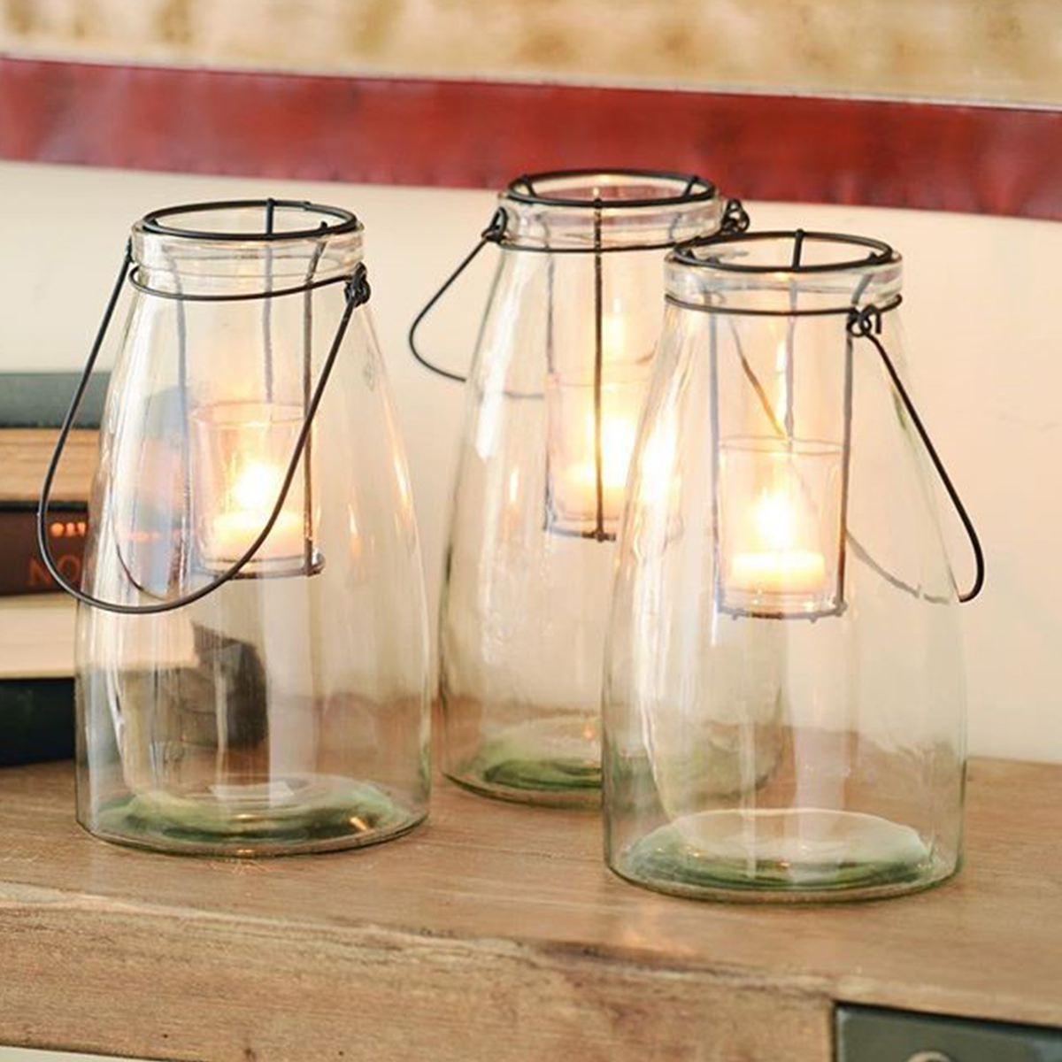 Rustic glass lanterns for tealights or votive candles. photo
