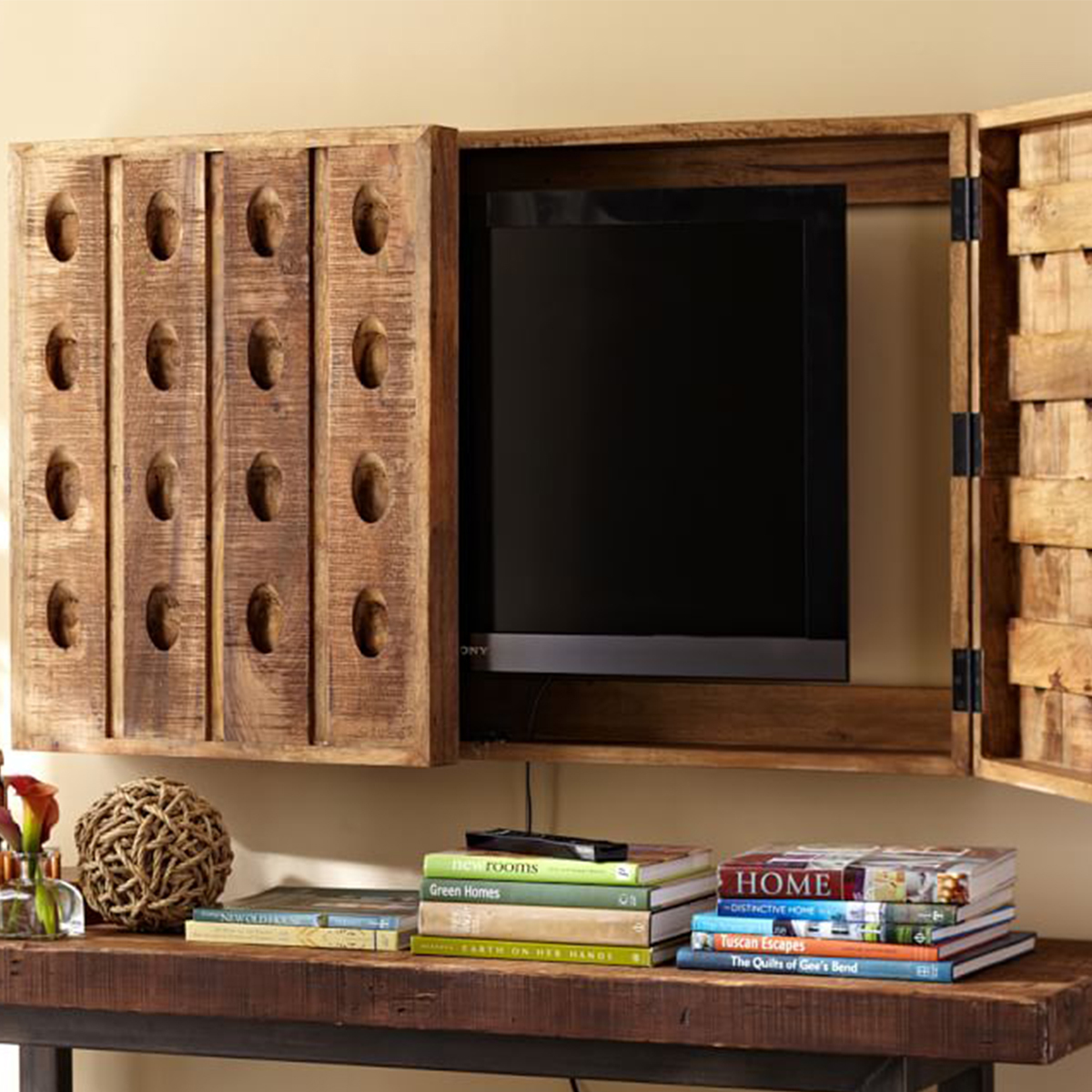 Tv cover made of old champagne riddling racks photo