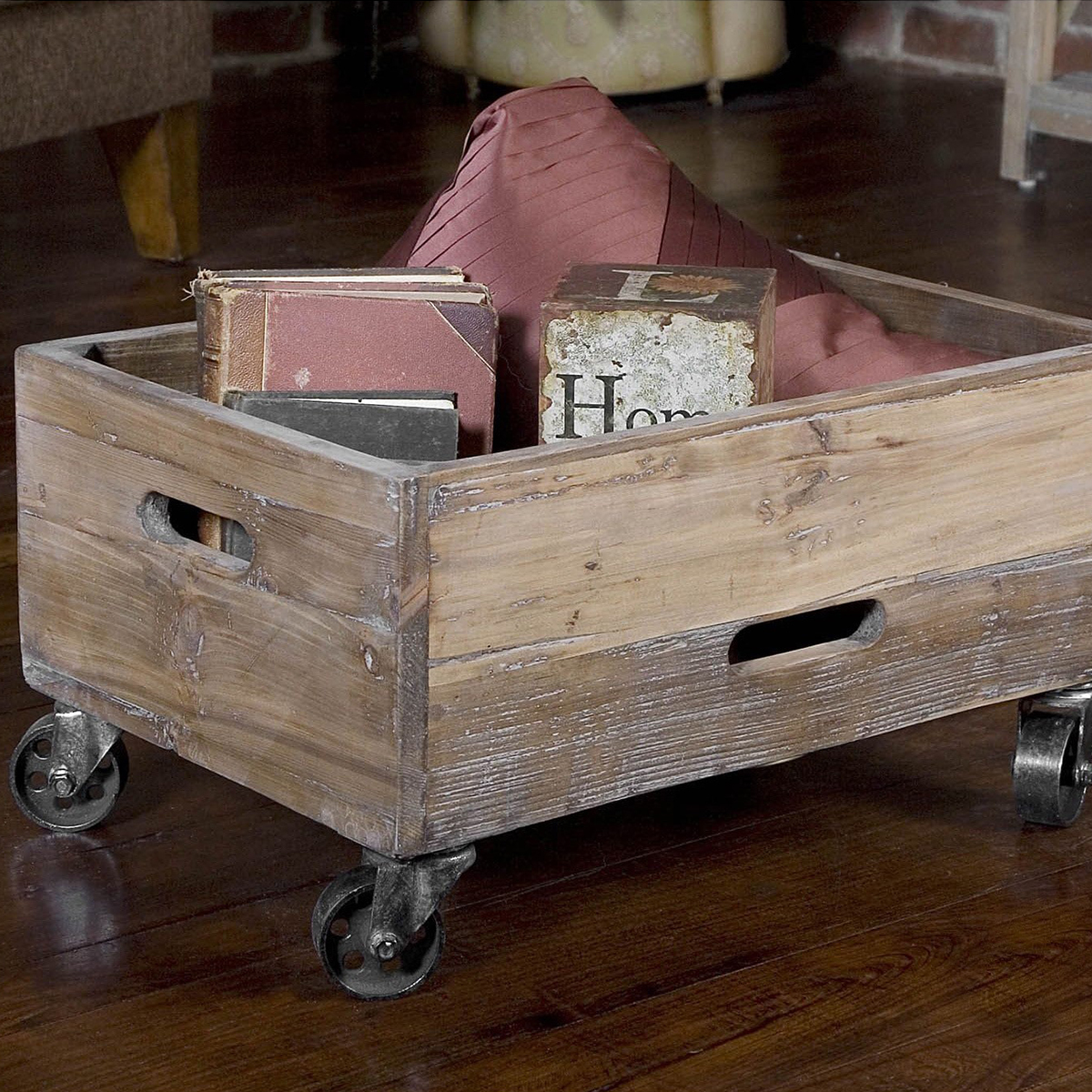 Crate on wheels made of reclaimed wood photo