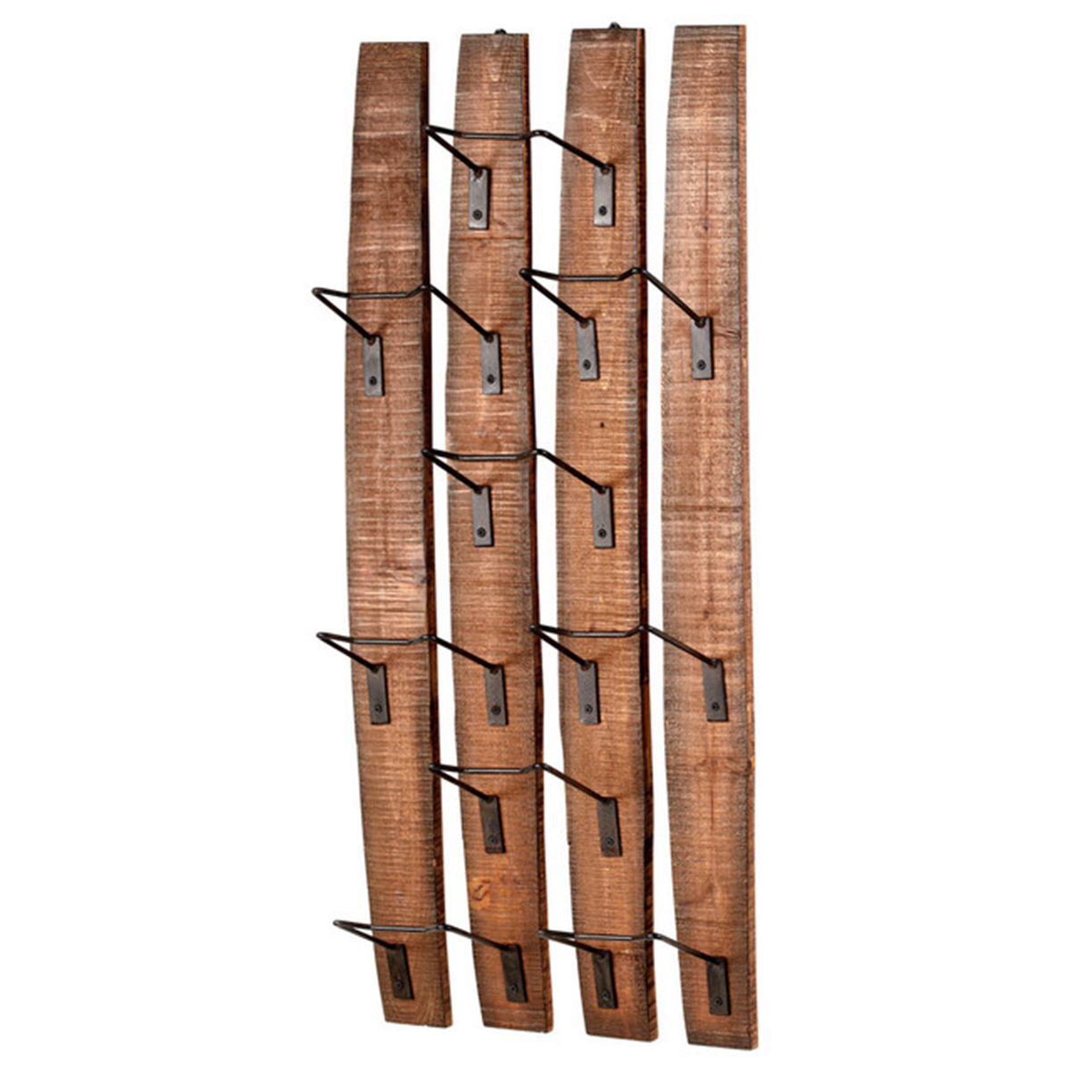 Wooden wine holder with wire racks photo