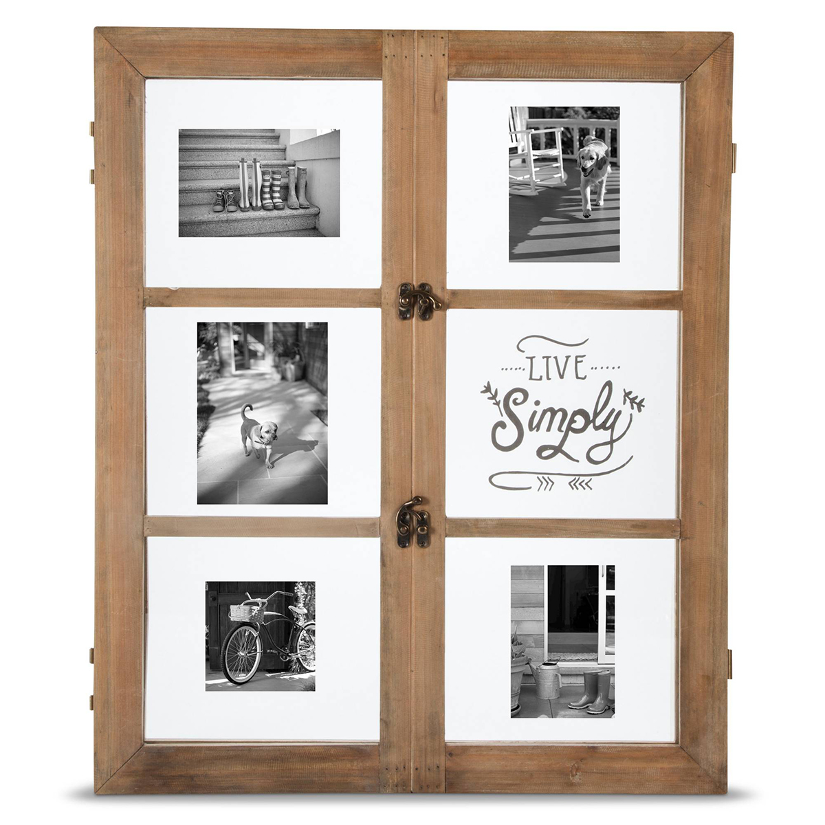 Window-style frame made with distressed wood featuring six individual photos. photo