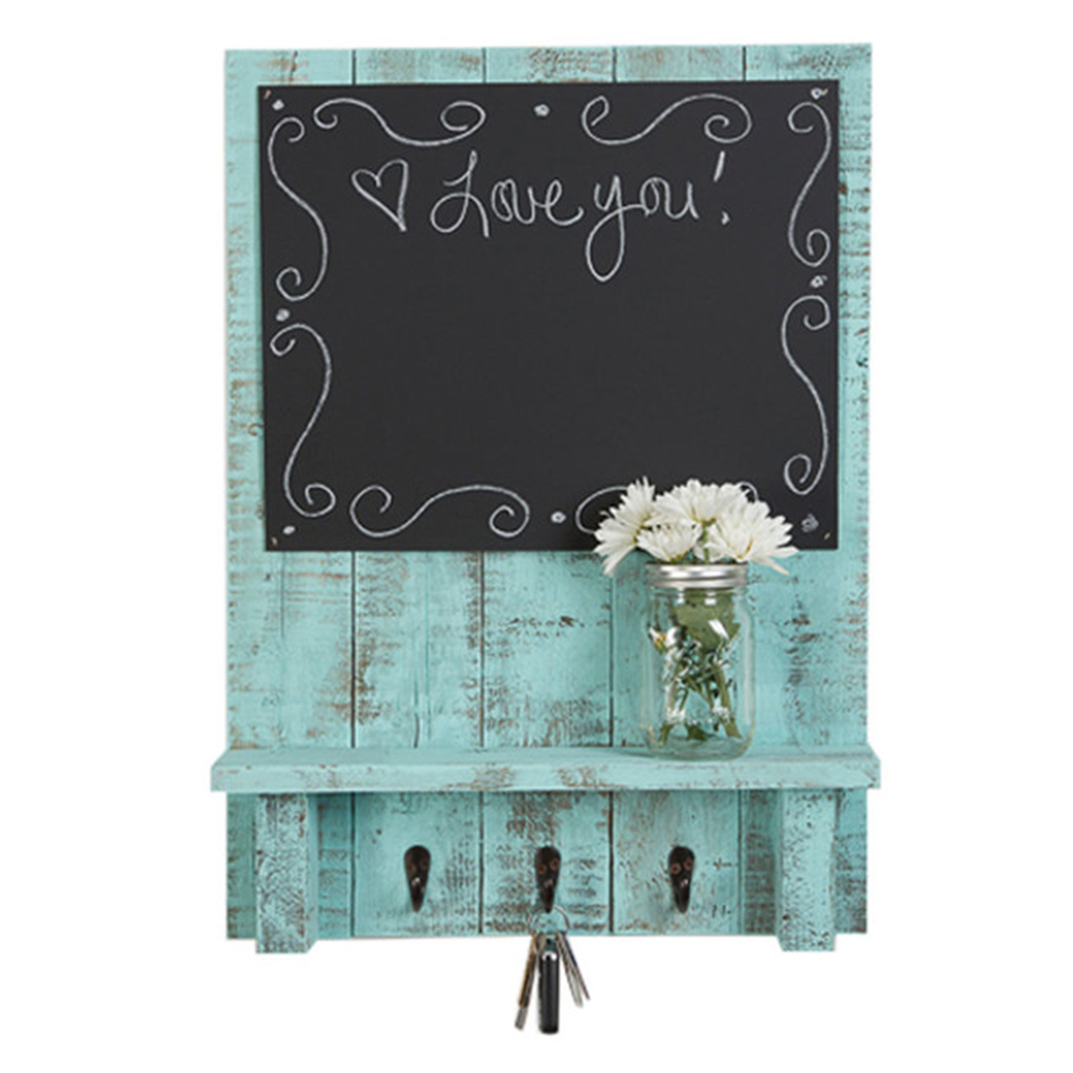 Blue rustic chalkboard made with distressed wood and hooks to hang keys. photo