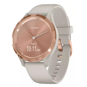 White and rose gold Garmin smartwatch from Macys photo