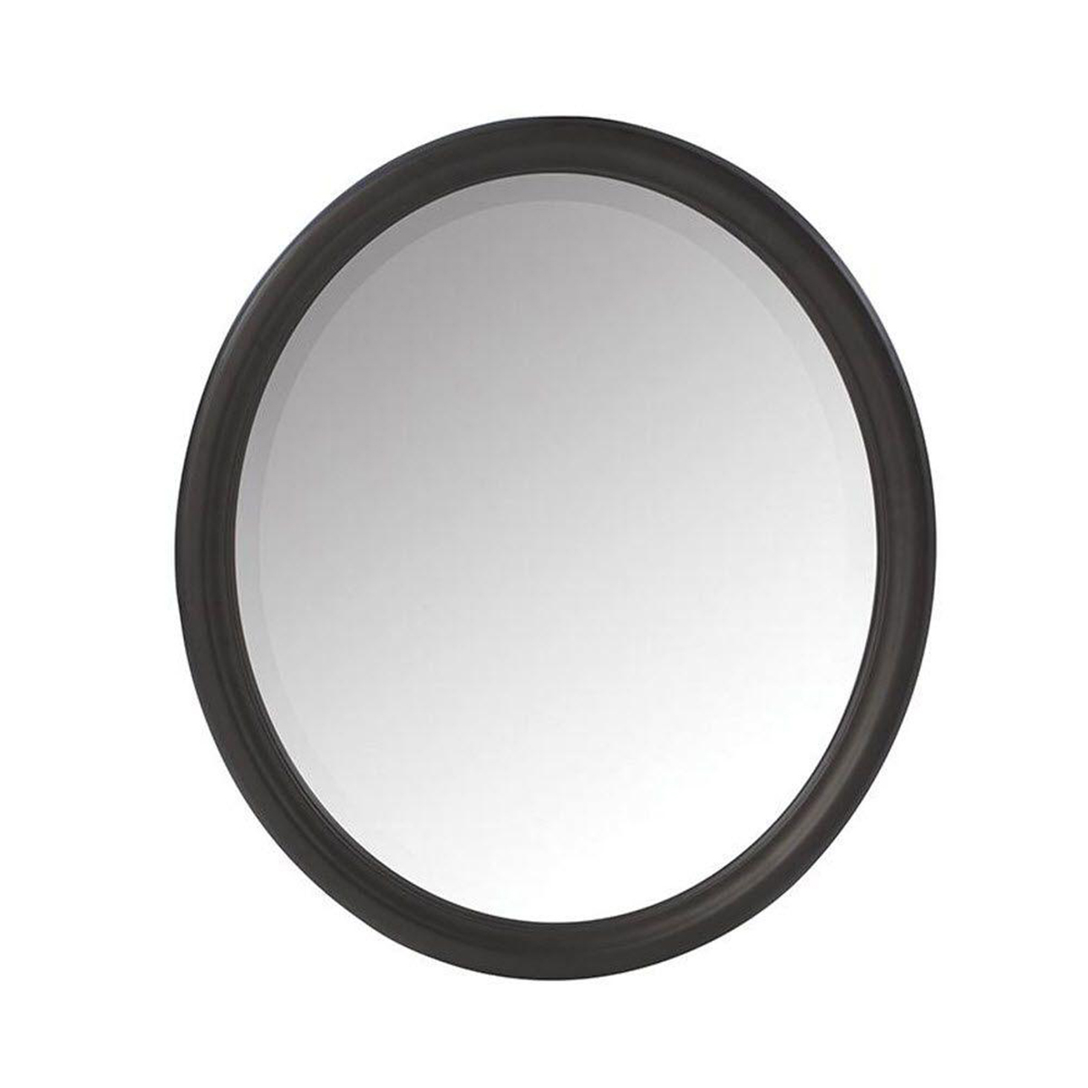 Oval wall mirror with black frame photo