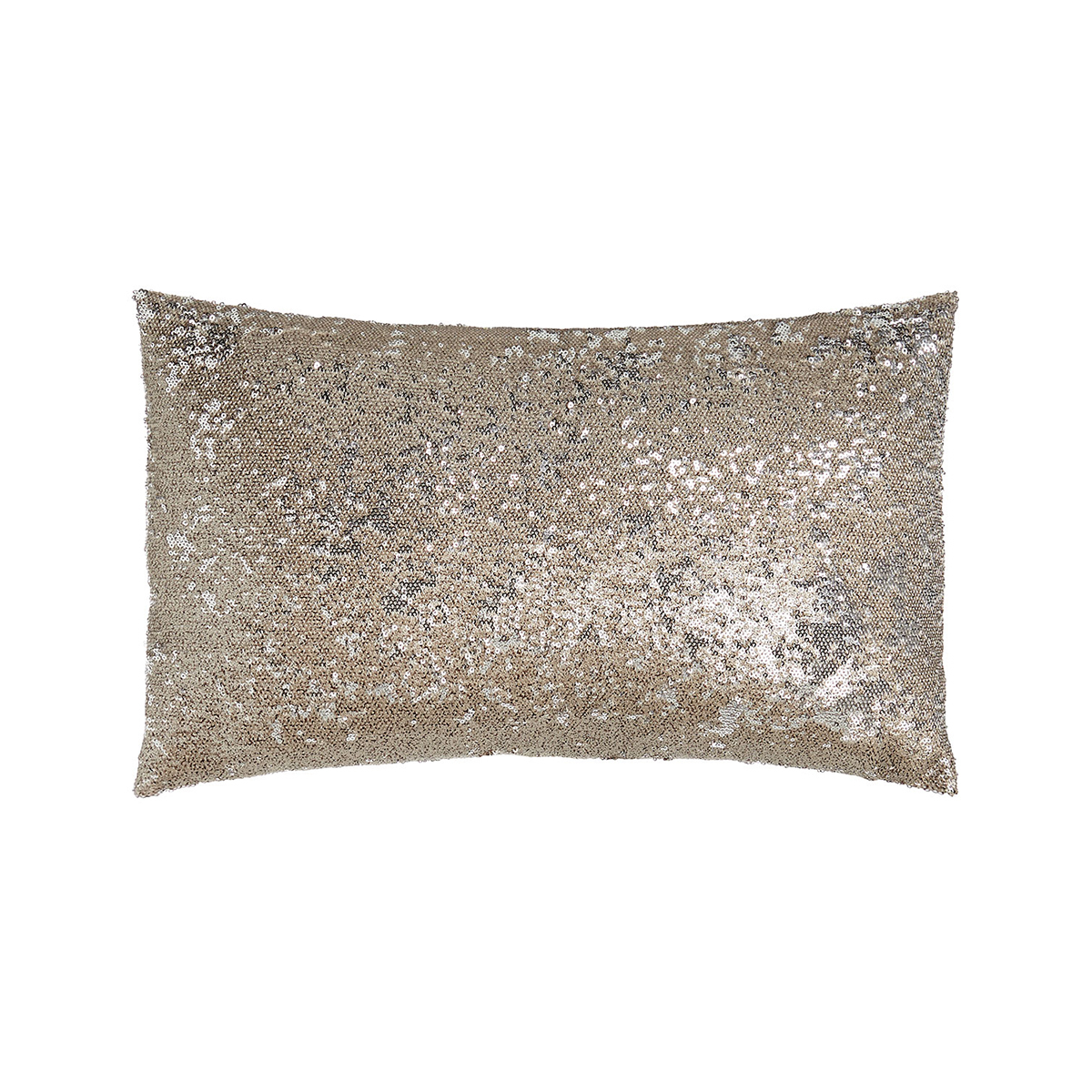 Shimmery lumbar pillow with sequins photo