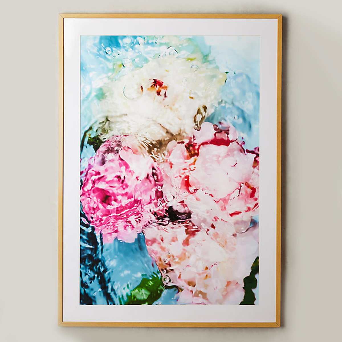 Stunning floral wall art with swirling colors. photo