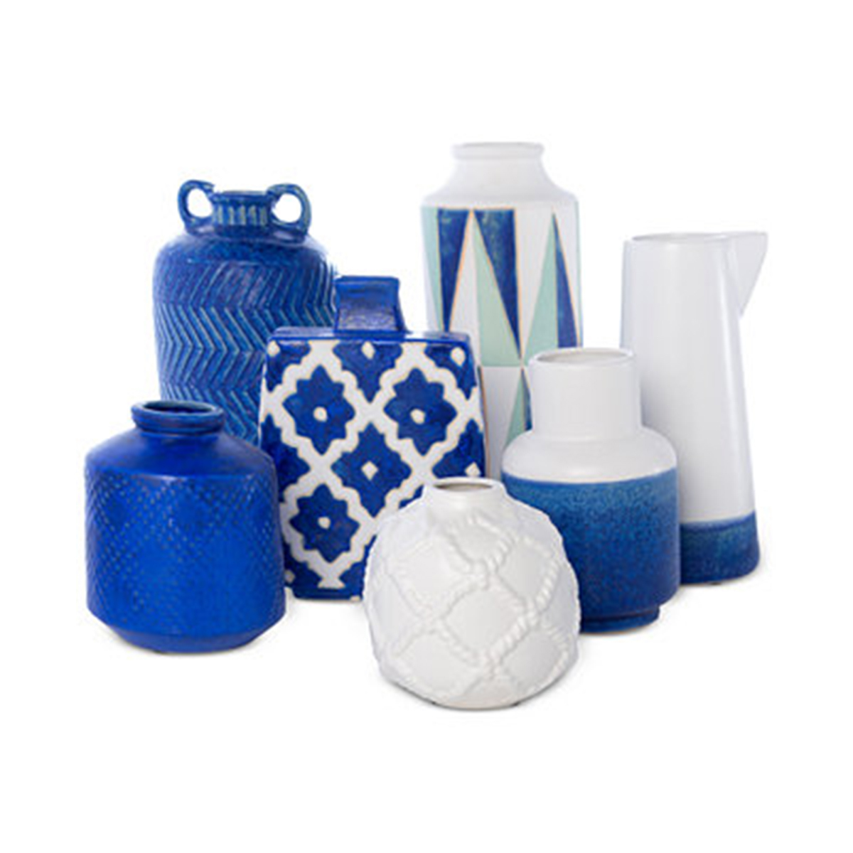 Vases in shades of blue and white come in a variety of patterns and textures photo