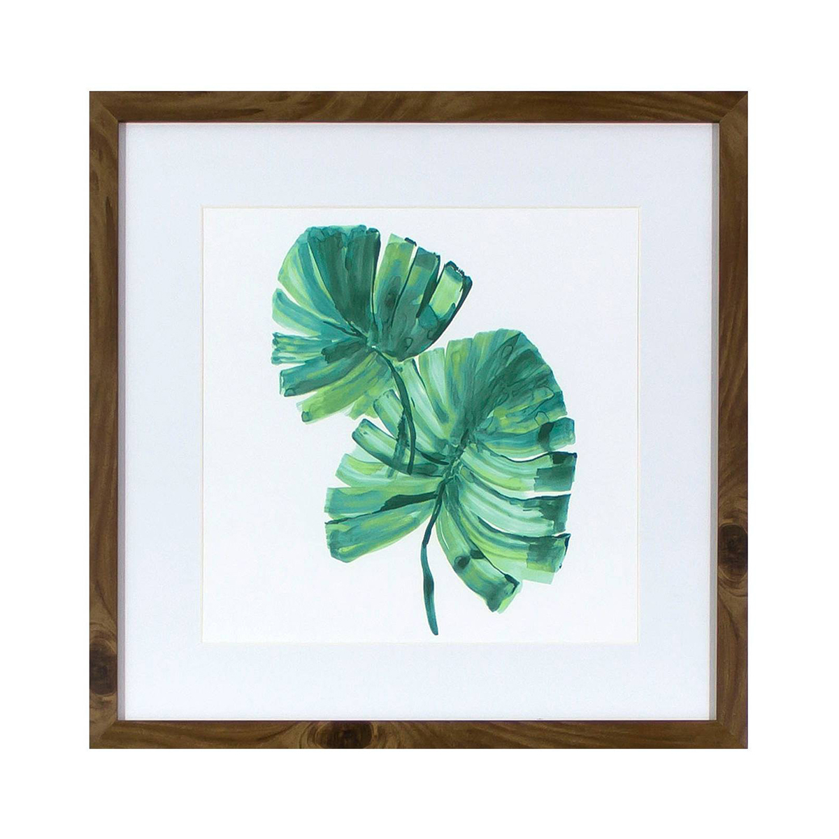 Chic wall art featuring lush green leaves for a simple, clean design. photo