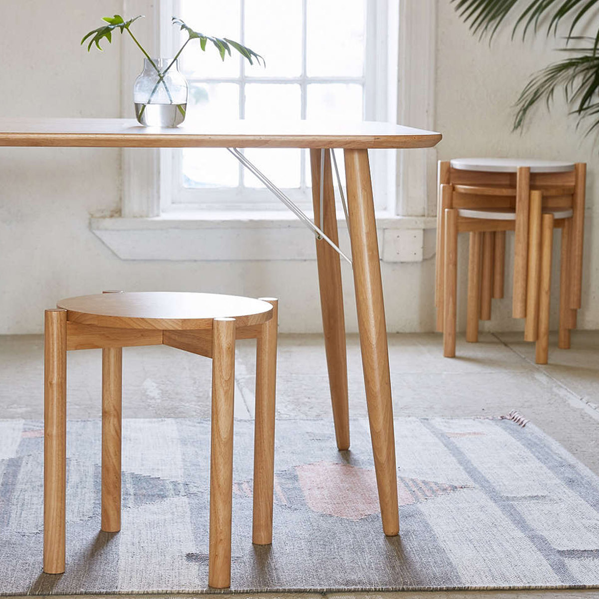Wood stool/side table that can stack photo