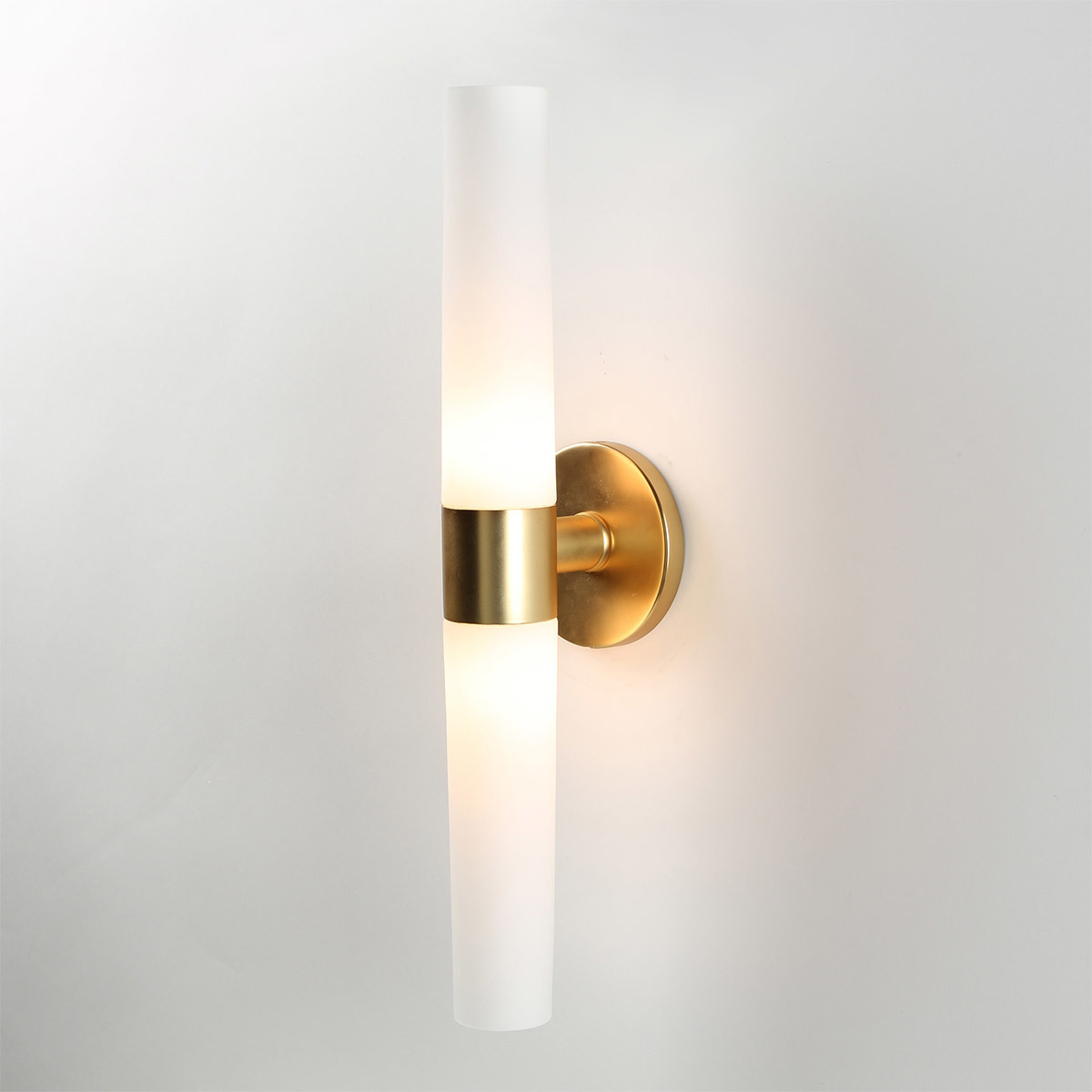 Opal-frosted wall sconce with brass finish photo