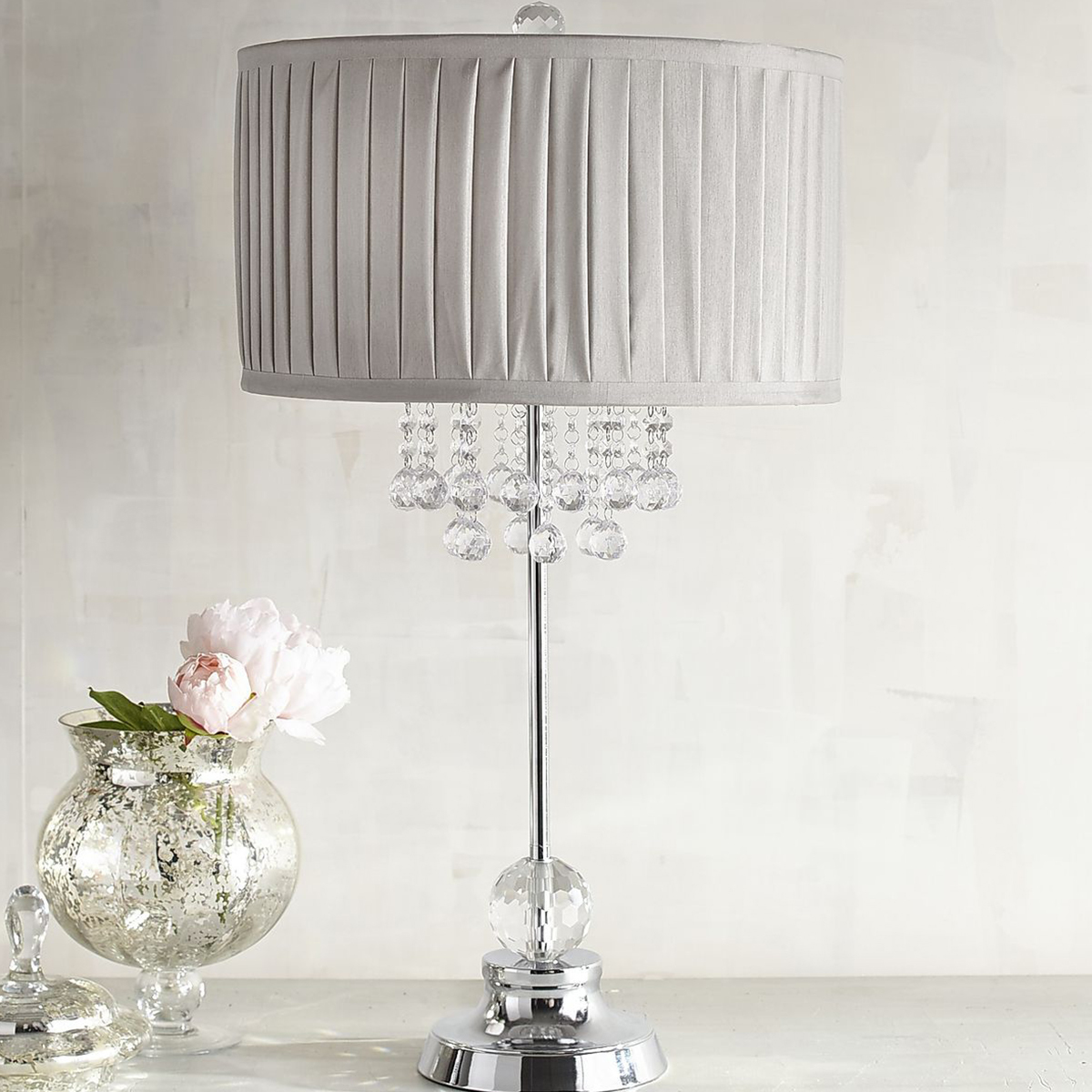 Table lamp with pleated shade and hanging crystals photo
