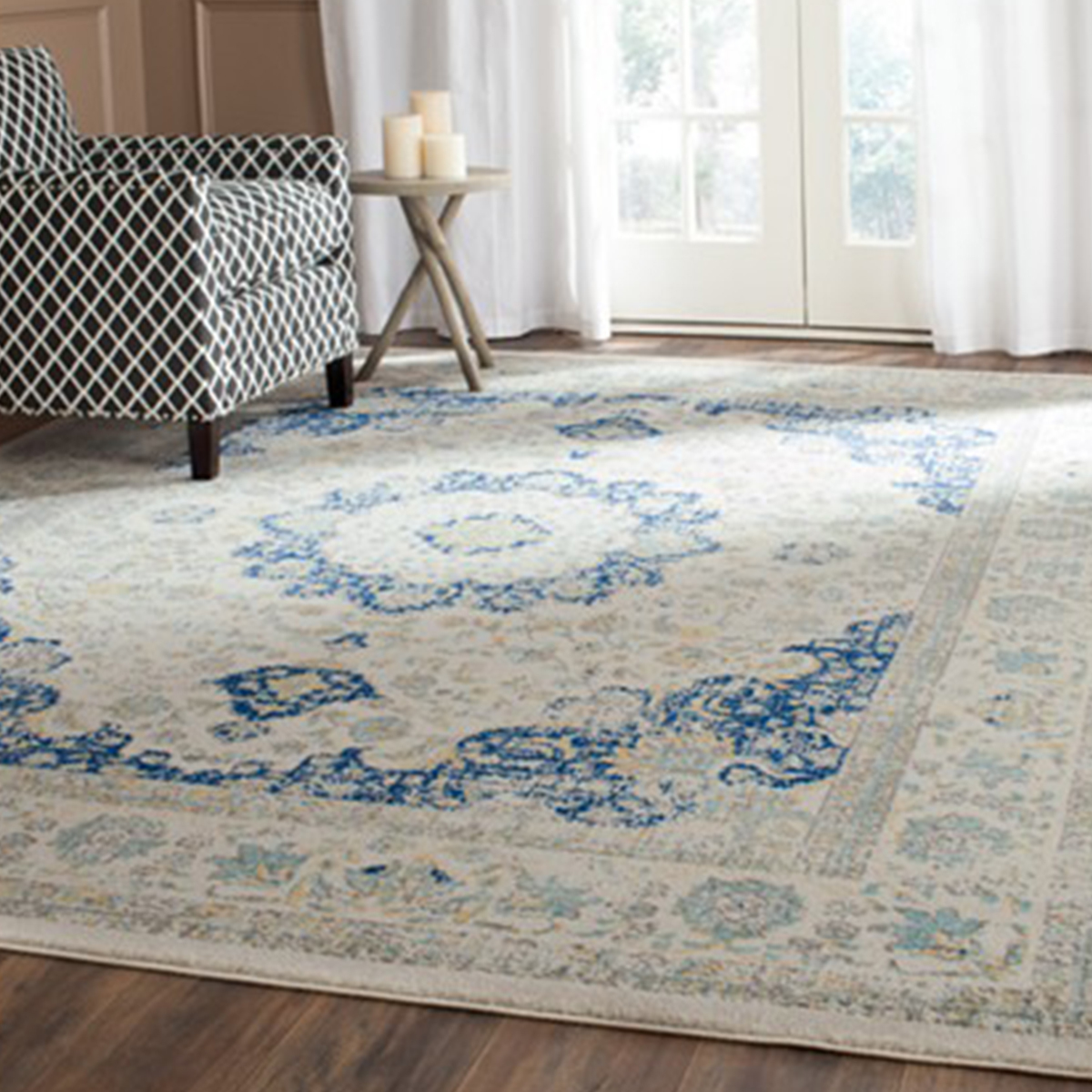 Persian-inspired rug in blue and ivory photo