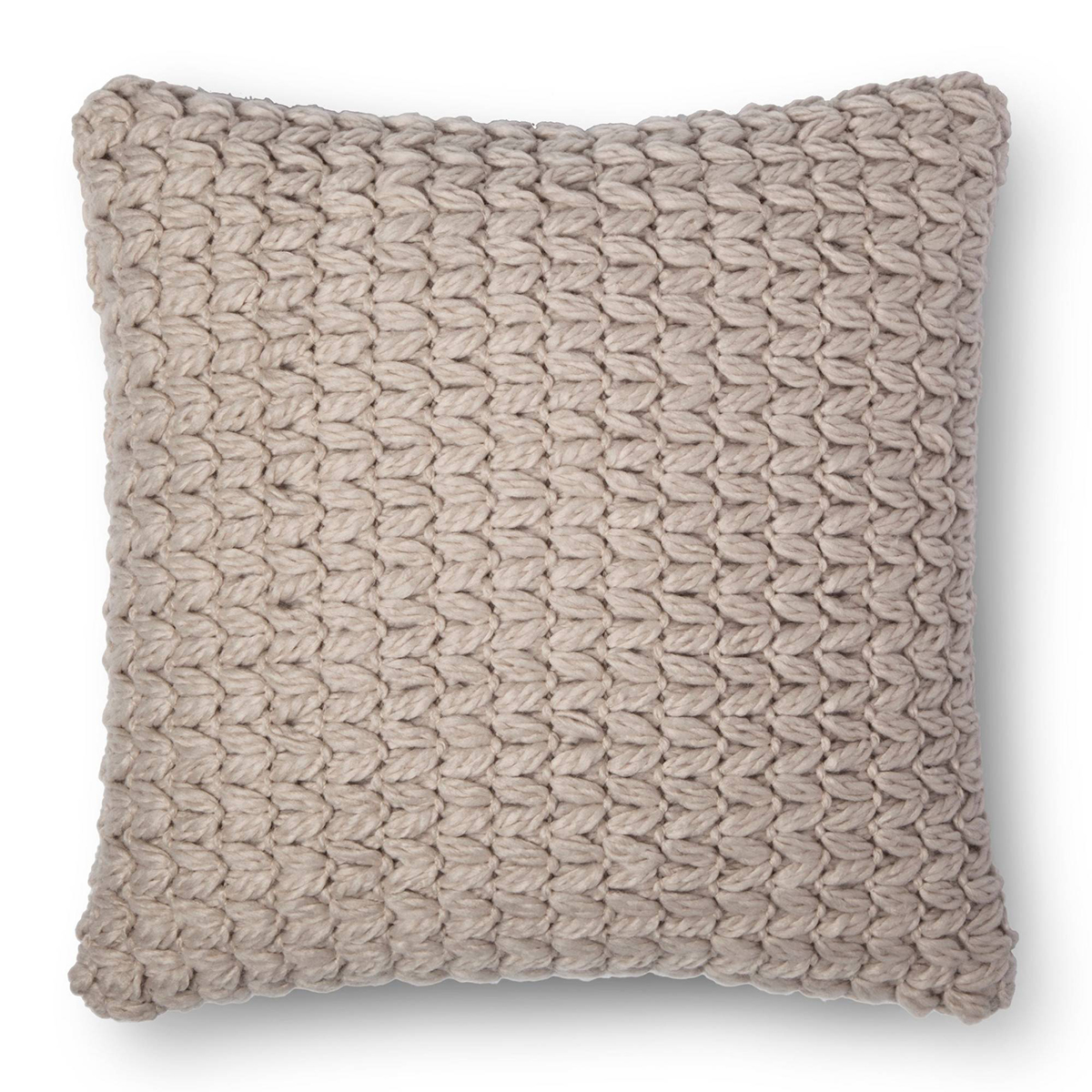 Throw pillow in tan with chunky knit design photo