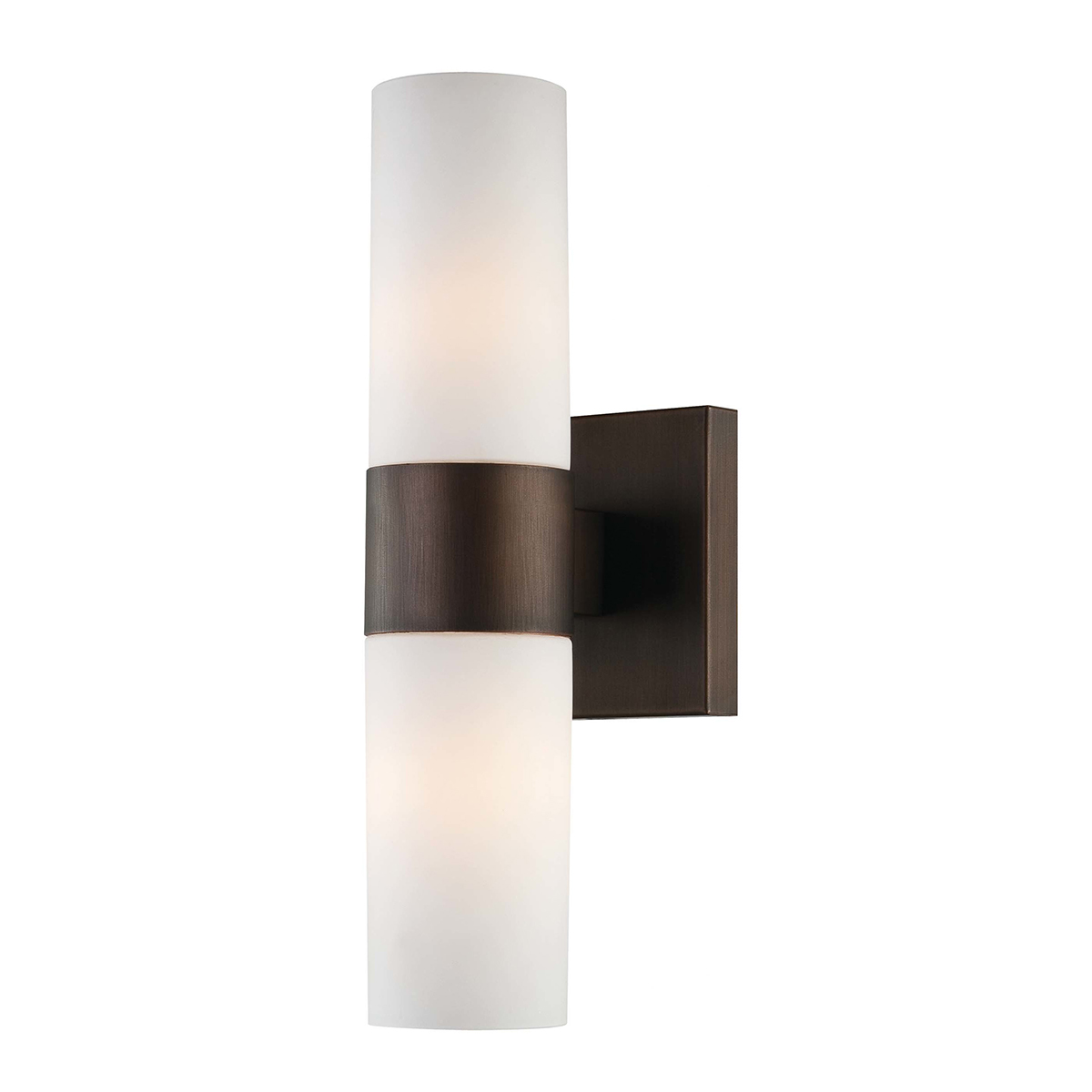 White wall sconce with copper finish photo