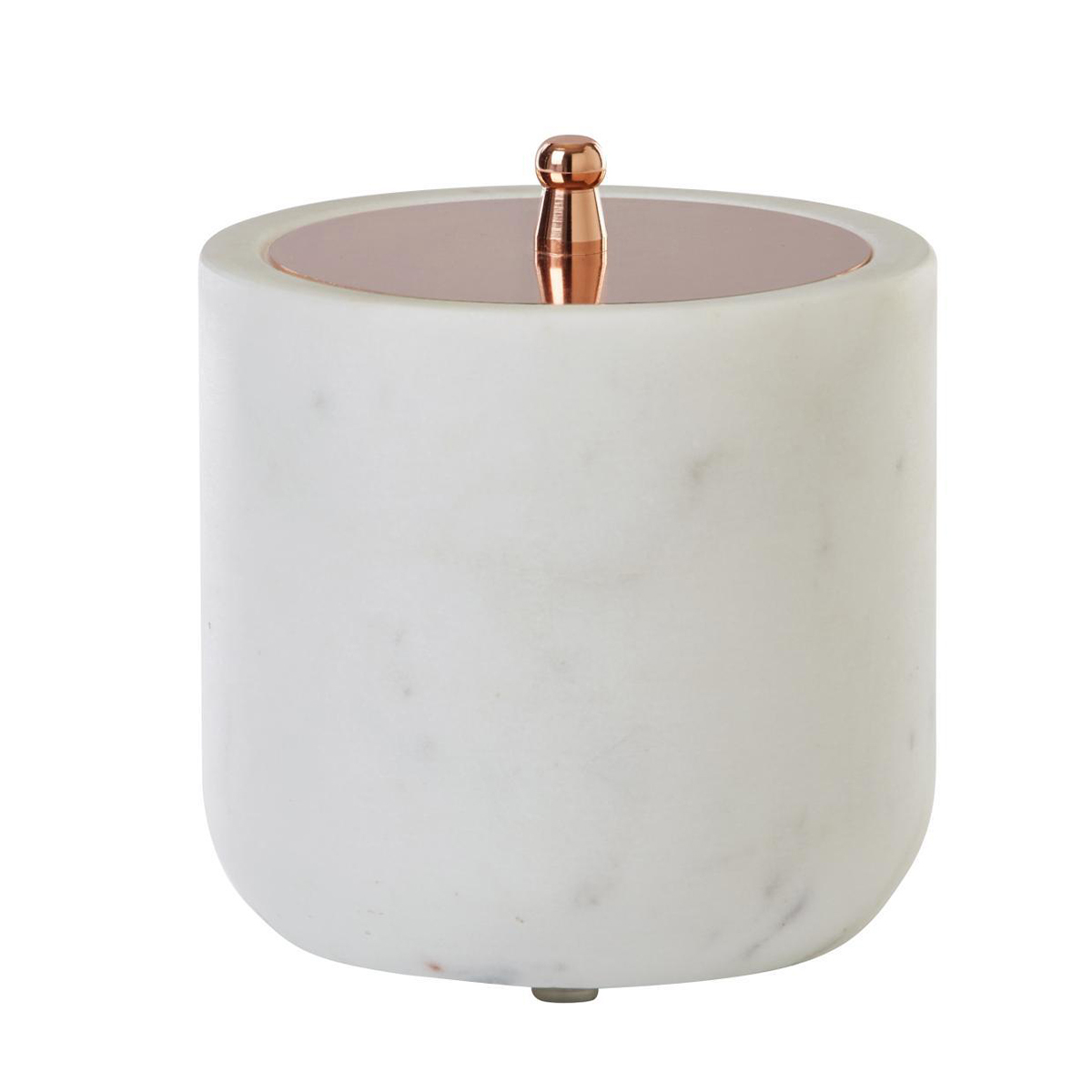 White marble bathroom canister with a rose gold accent. photo