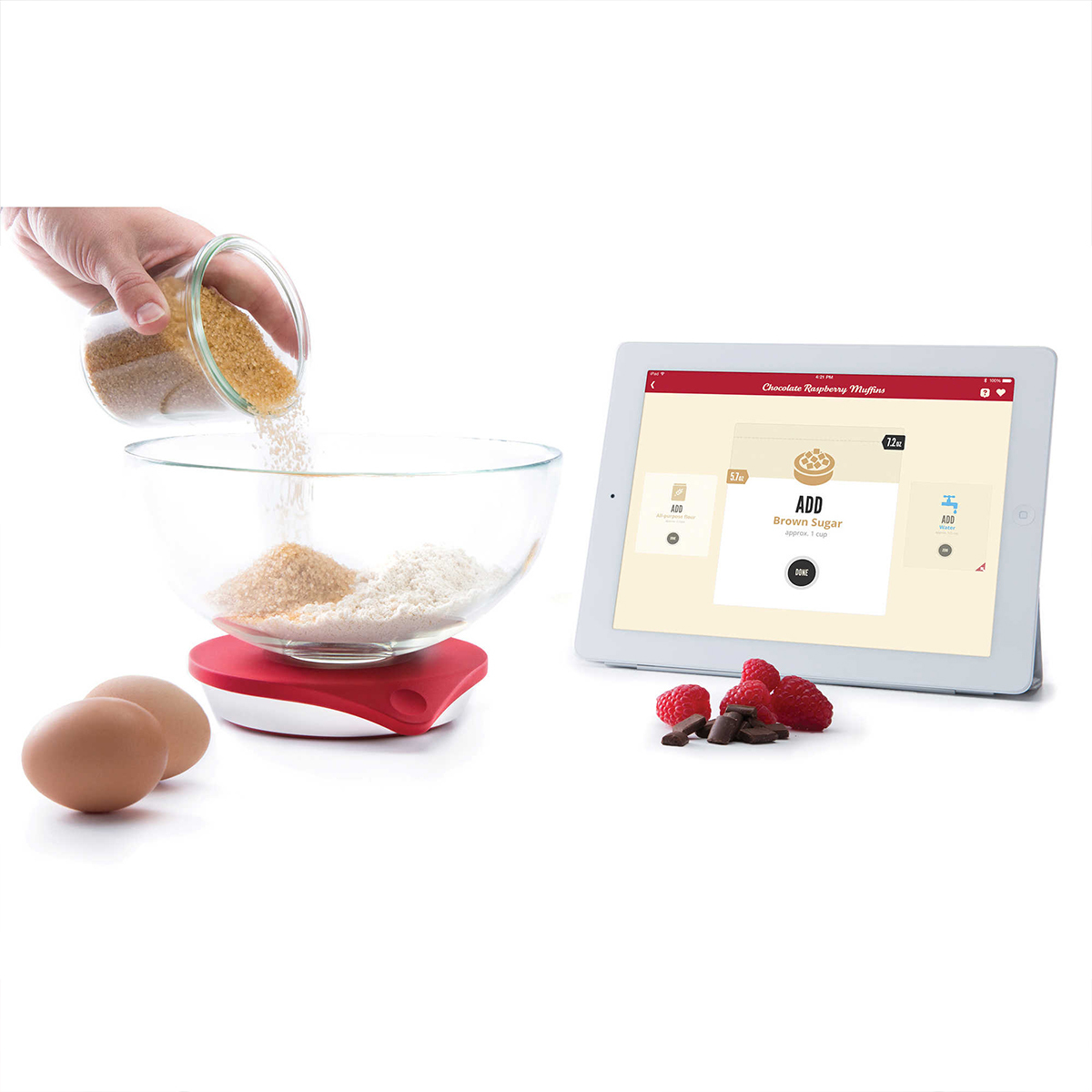 Smart kitchen scale with recipe app photo