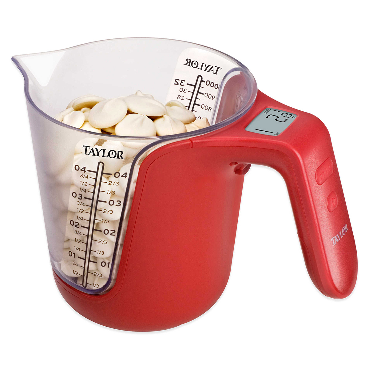Smart measuring cup in red photo