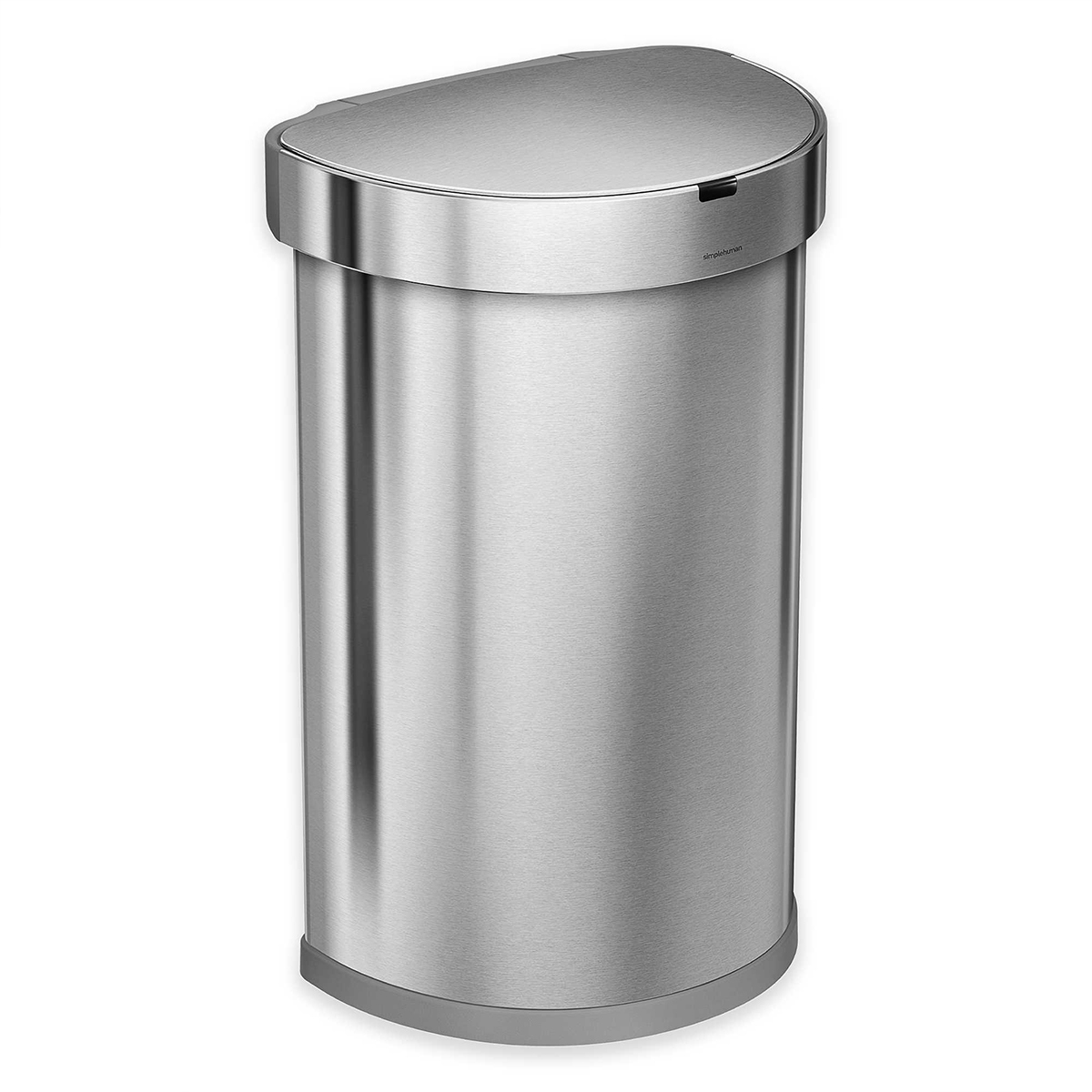Sleek touch-free trash can with stainless-steel finish photo