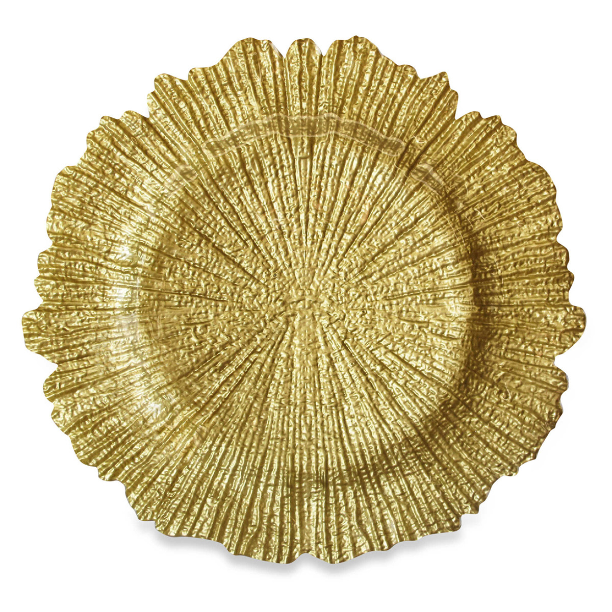 Glittering gold charger plate with a unique, rigid design photo