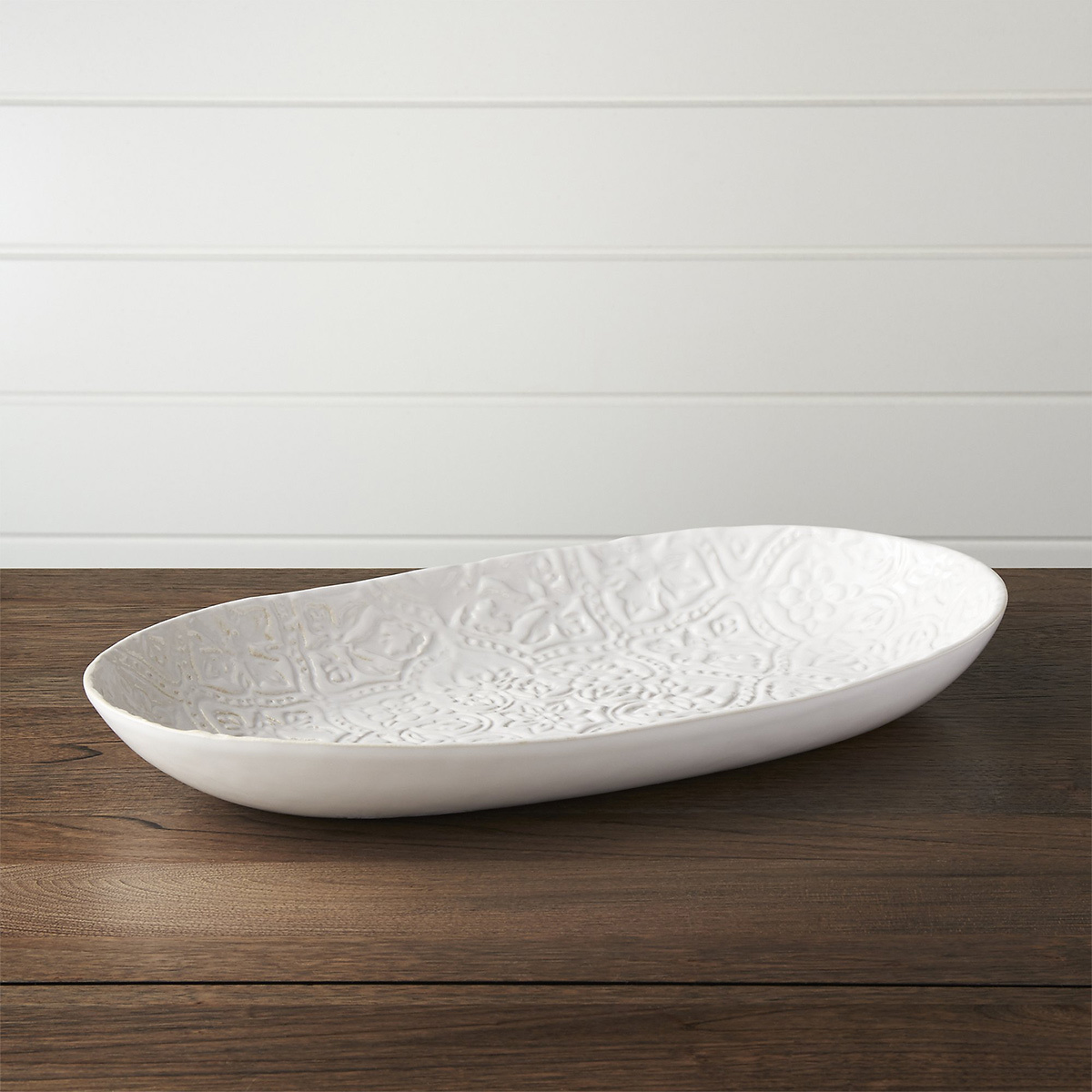 White platter dish in an oval shape photo