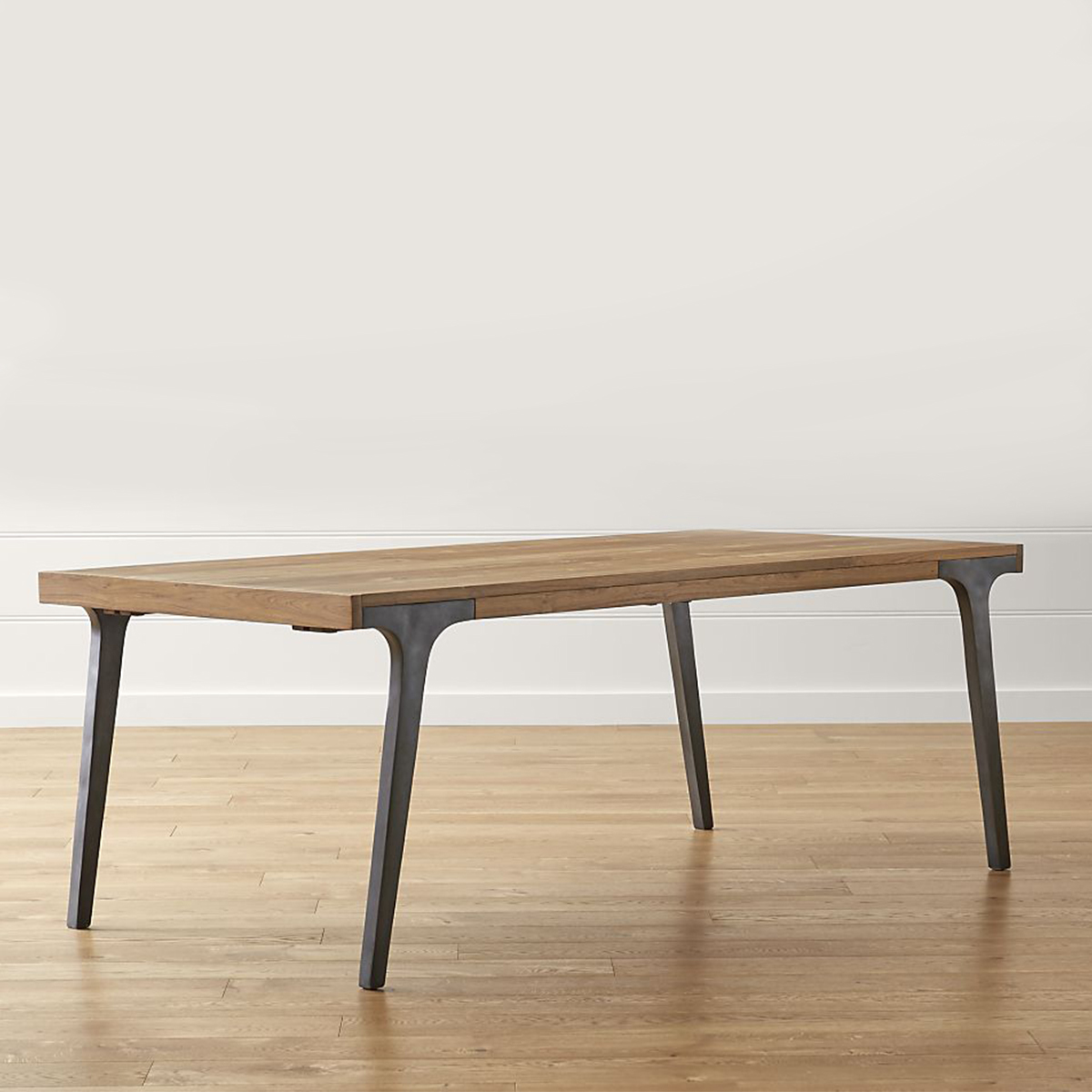 Wood dining table with metal legs photo