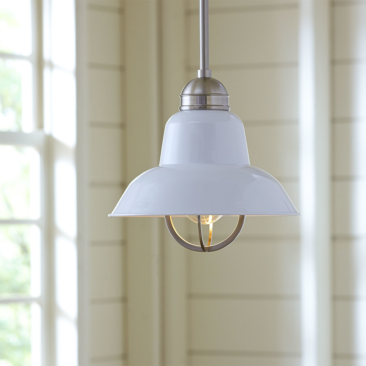 Industrial pendant lamp with white shade photo