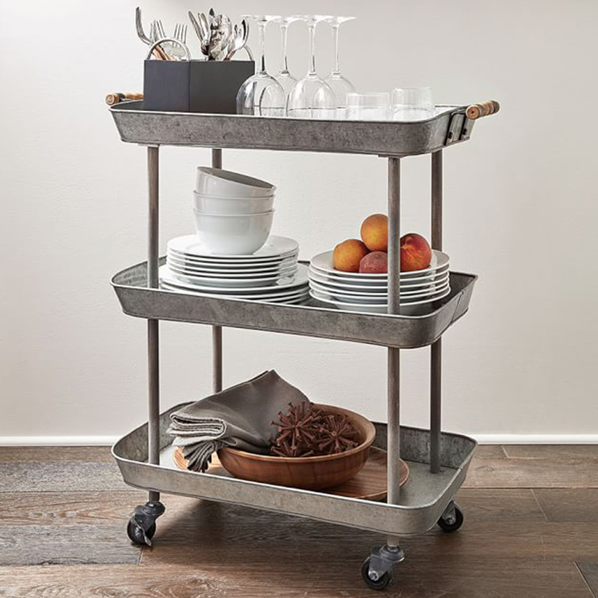 Three-tier bar cart in galvanized metal from Pottery Barn photo