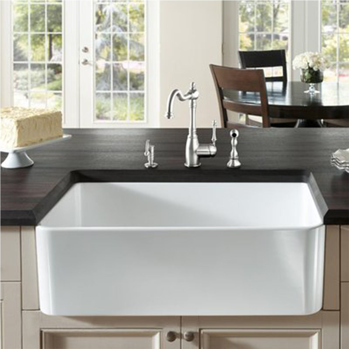Farmhouse kitchen sink in white photo