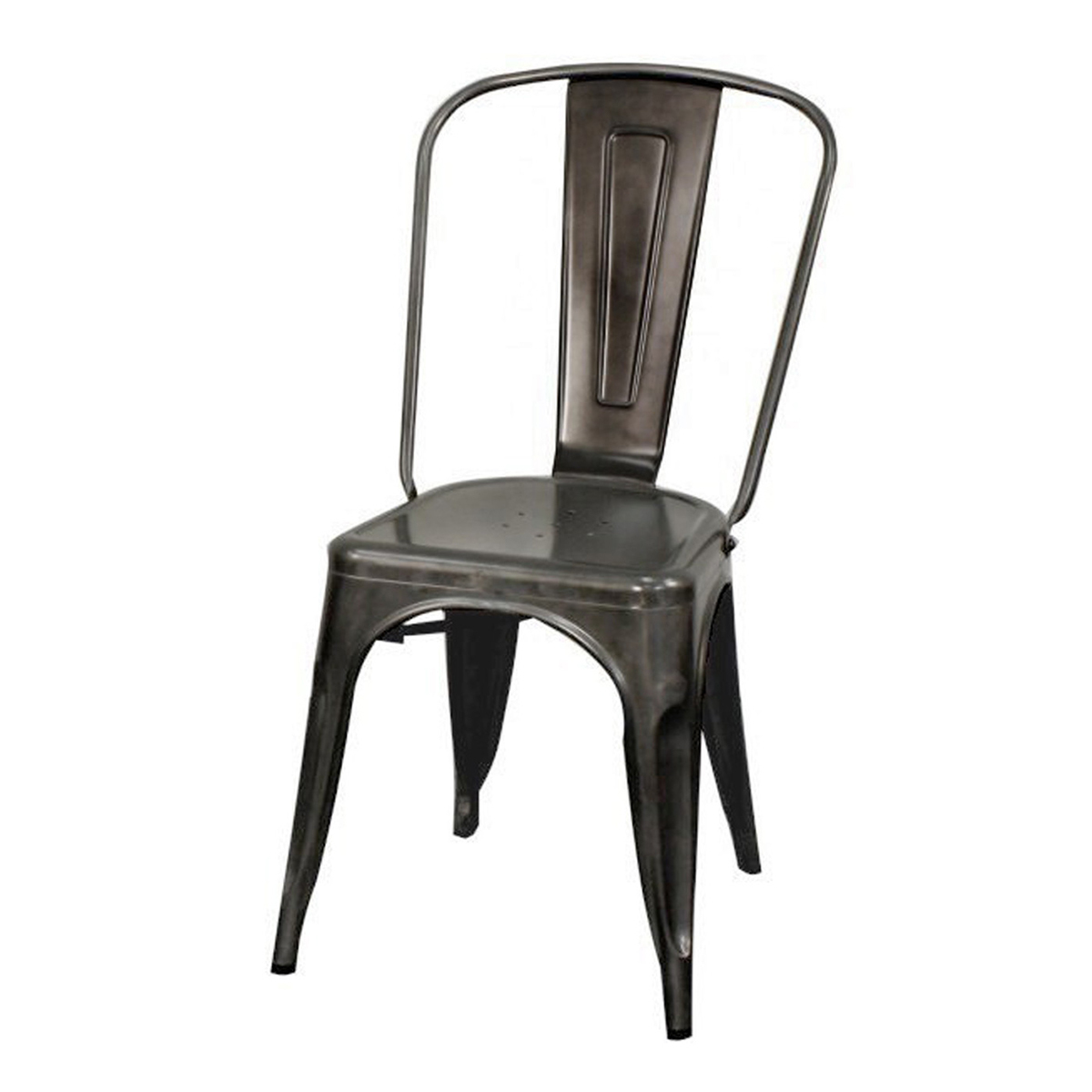 Metal dining chair in gunmetal finish photo
