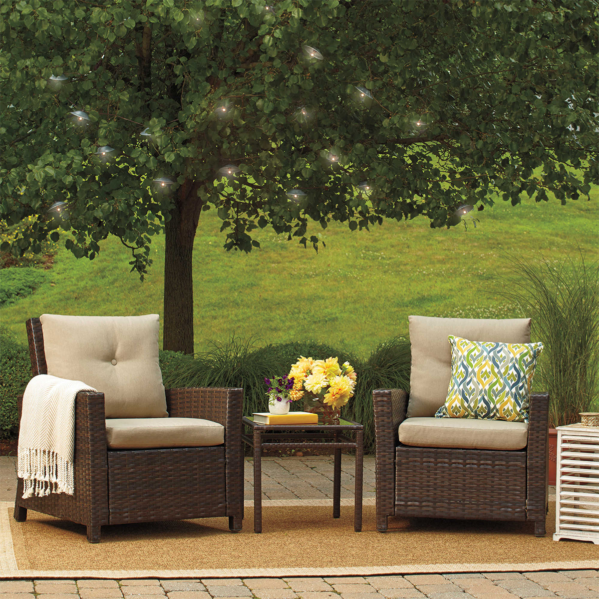 Bed Bath and Beyond three-piece wicker chair set photo