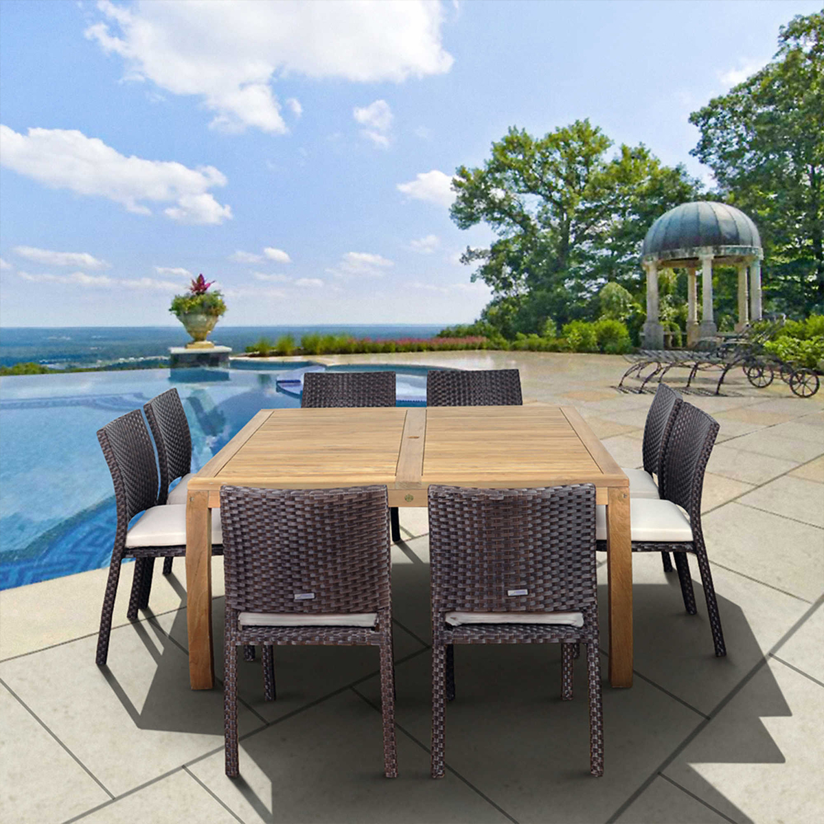 Bed Bath and Beyond eucalyptus wood and wicker patio dining set photo
