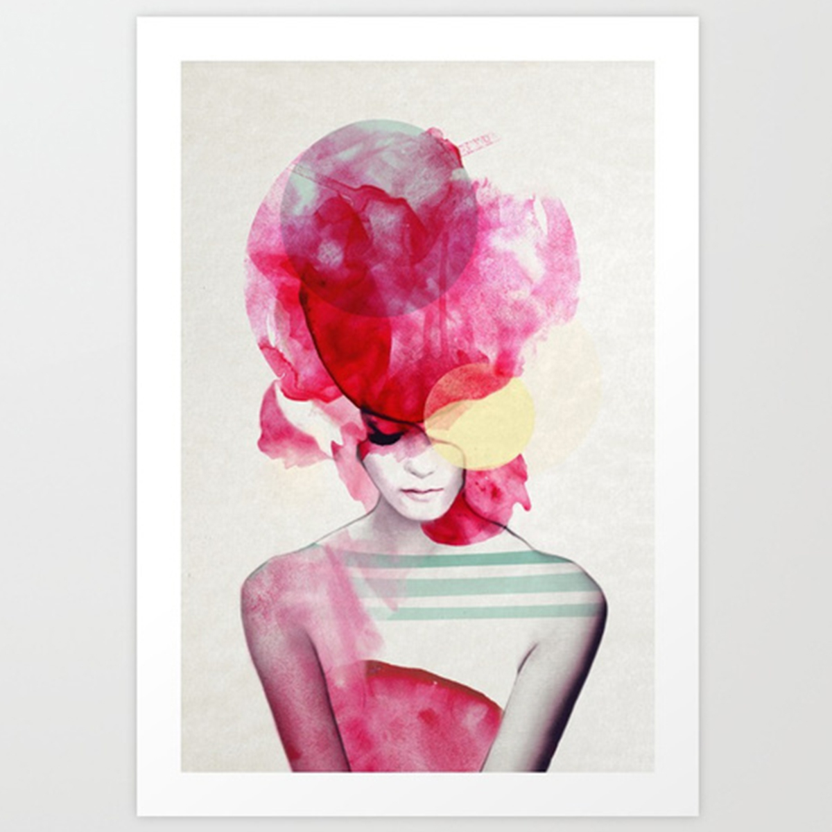 Pink watercolor print of the back of a woman's hair and bust photo