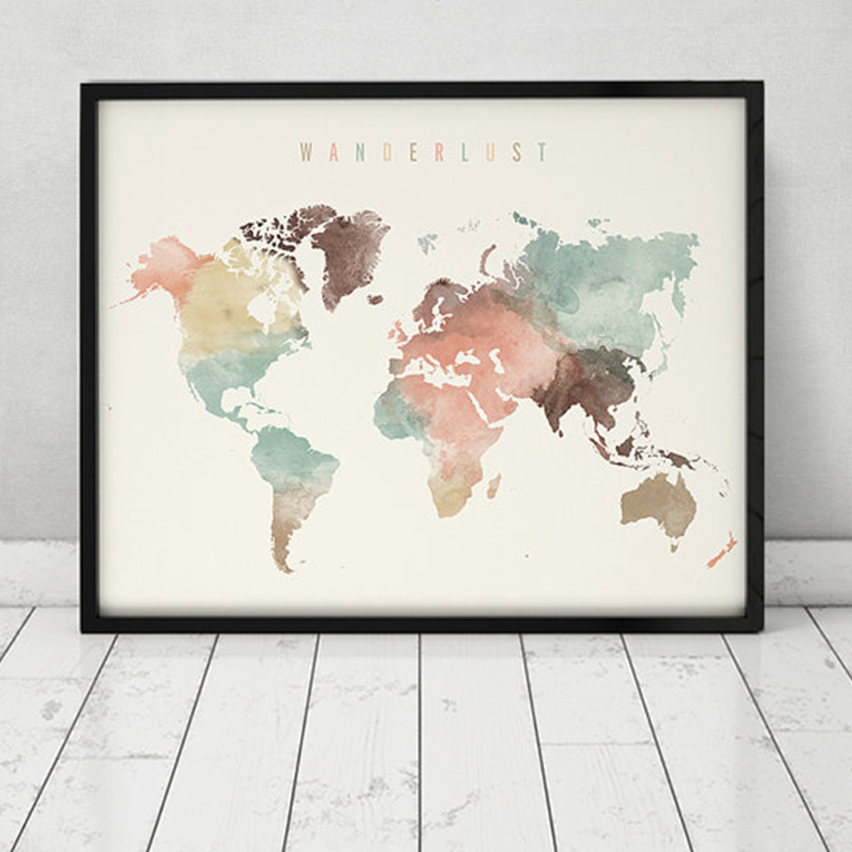Colorful map of the world photo