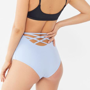 High-waist bikini bottoms with a strappy cut-out back photo