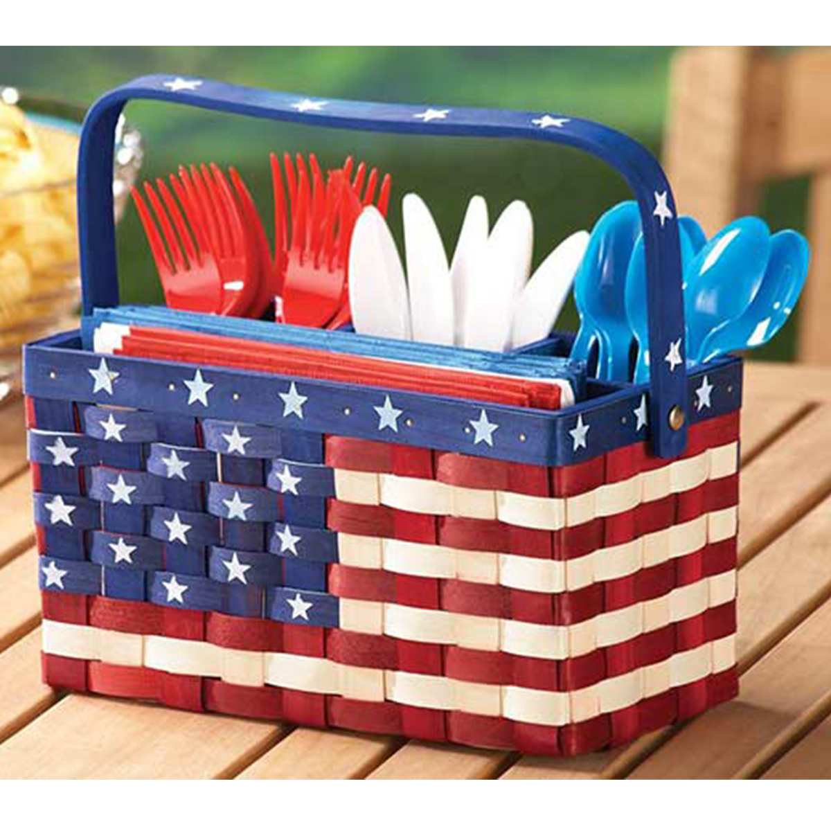 A utensil holder with an American flag print photo