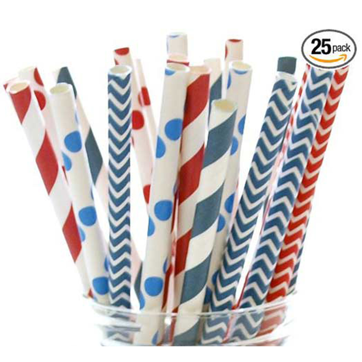 Festive straws with white and blue dots, blue and white zig-zag patterns, and red striped patterns photo
