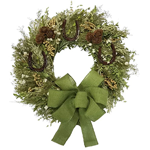 Green wreath with horseshoes and bow from Birch Lane photo