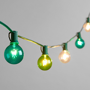 Blue and green hanging lights from World Market photo
