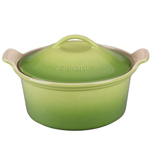 Green Le Creuset stoneware with a lid from Houzz photo