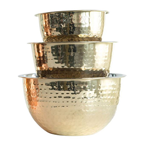 Three gold bowls stacked on each other from Walmart photo