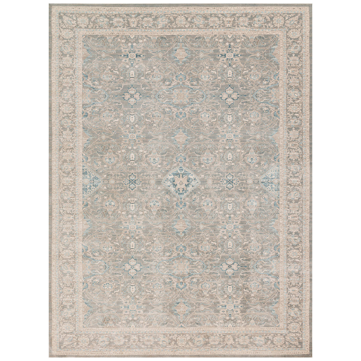 Farmhouse-inspired area rug with neutral ivory and gray combination accented by subtle shades of blue. photo