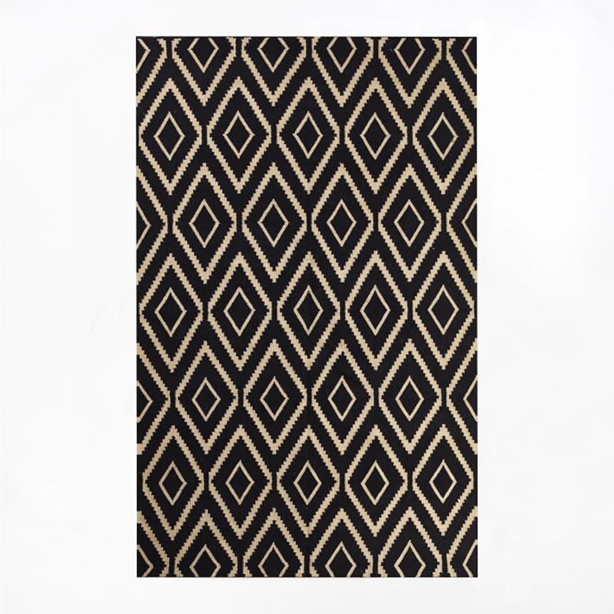 Art Deco-Inspired area rug features a bold black and gold pattern. photo