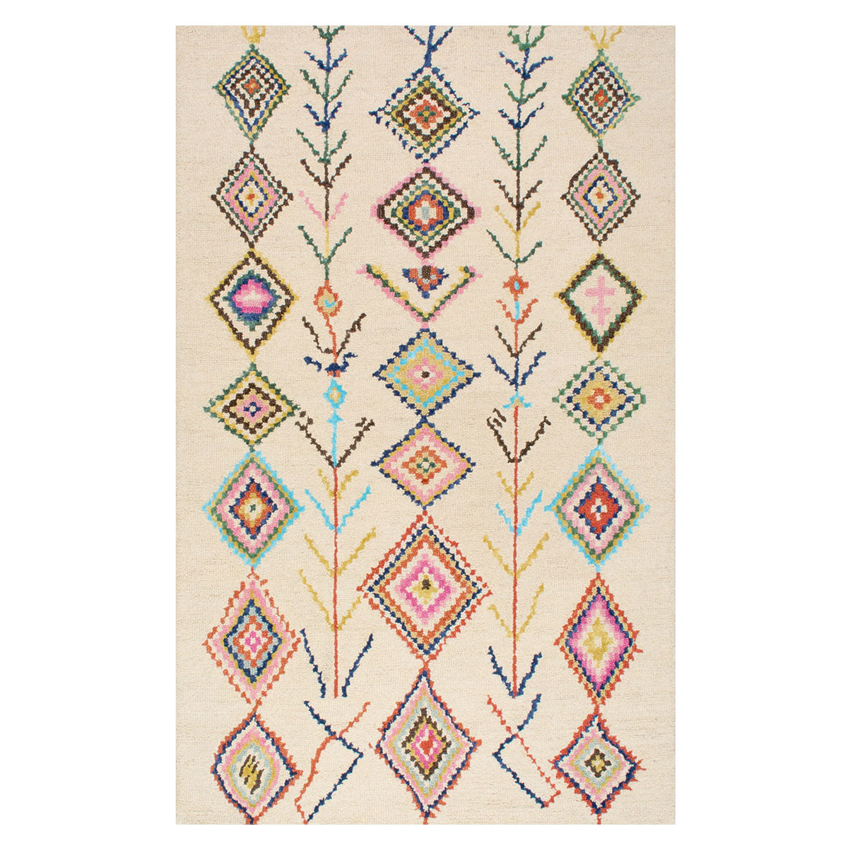 Moroccan-inspired rug with a colorful motif against a cream base. photo