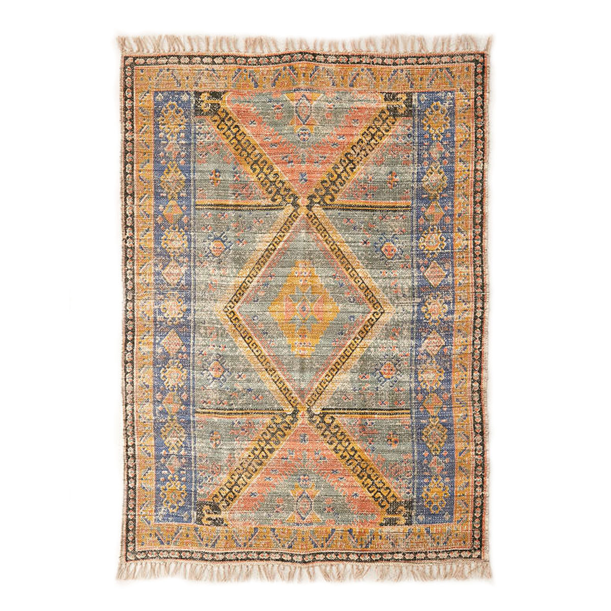 Elclectic overdyed rug featuring unique coloring and trendy fringe. photo