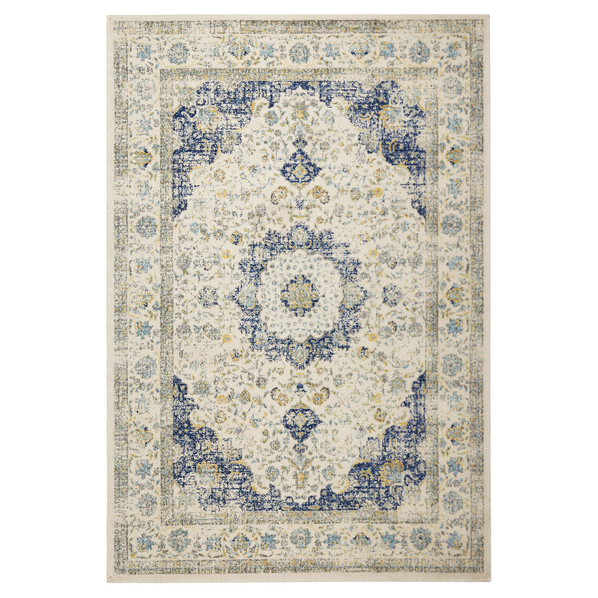 Vintage-inspired rug with a blue and ivory persian-inspired motif. photo