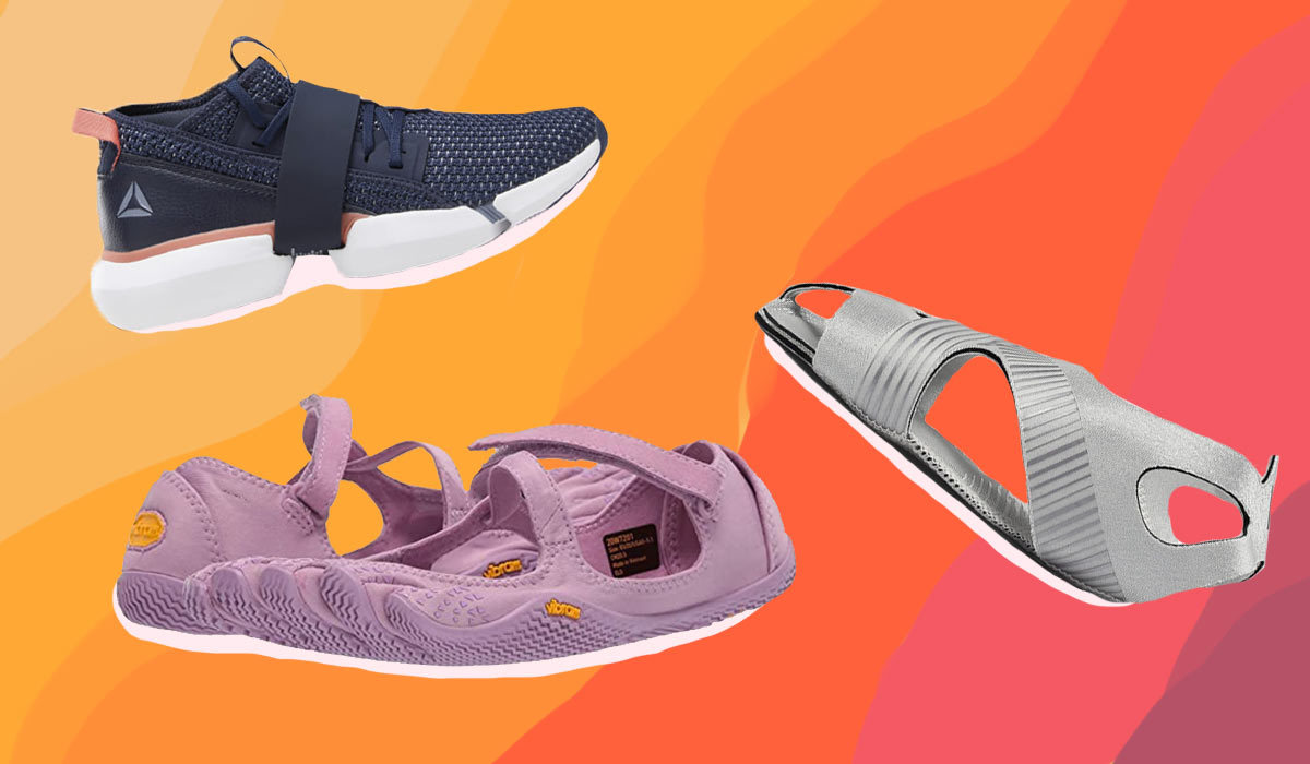 Three pairs of shoes in front of a multicolored background