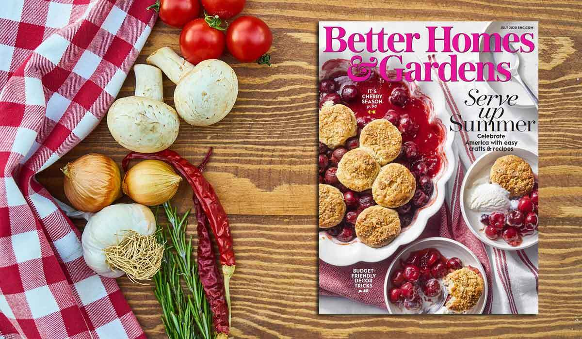 Cover of July 2020 issue of Better Homes & Gardens on a picnic table